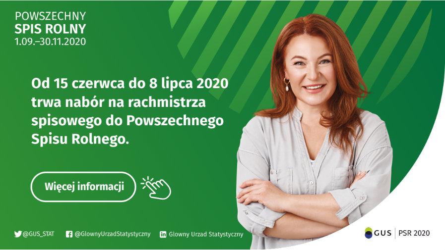 Plakat dotyczący naboru na rachmistrzów PSR 2020